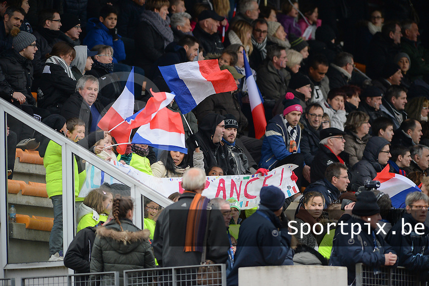 20160319 - FLERS , FRANCE : French fans pictured during the soccer match between the women under 17 teams of  France and the Czech Republic , on the first matchday in group 3 of the UEFA Women Under17 Elite rounds at Stade du Haze in Flers , France . Saturday 19th March 2016 . PHOTO DAVID CATRY
