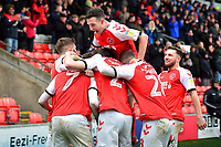 Fleetwood Town's Ashley Hunter celebrates with his team-mates after scoring his side's second goal<br /> <br /> Photographer Richard Martin-Roberts/CameraSport<br /> <br /> The EFL Sky Bet League One - Fleetwood Town v Plymouth Argyle - Saturday 16th March 2019 - Highbury Stadium - Fleetwood<br /> <br /> World Copyright © 2019 CameraSport. All rights reserved. 43 Linden Ave. Countesthorpe. Leicester. England. LE8 5PG - Tel: +44 (0) 116 277 4147 - admin@camerasport.com - www.camerasport.com