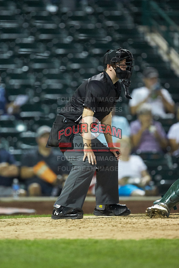Home plate umpire A.J. Choc works the Midwest League game between the Bowling Green Hot Rods and the Fort Wayne TinCaps at Parkview Field on August 20, 2019 in Fort Wayne, Indiana. The Hot Rods defeated the TinCaps 6-5. (Brian Westerholt/Four Seam Images)