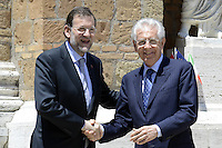 Roma, 22 Giugno 2012.Villa Madama.Vertice quadrilaterale su Eurozona con i leader di Italia, Francia, Germania e spagna.Nella foto, Mario Monti e Mariano Rajoy.