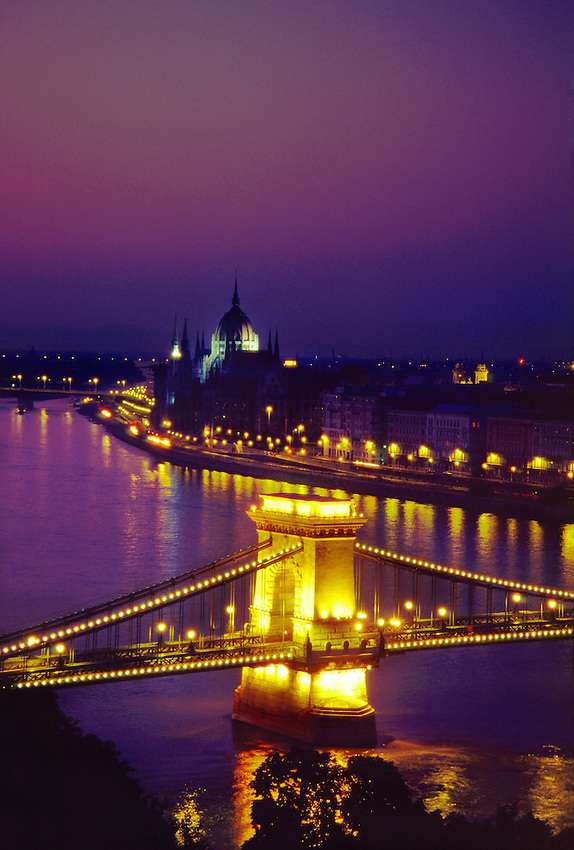 The Chain Bridge (across the Danube River) with Parliament behind, Budapest, Hungary