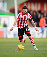 Lincoln City's Bruno Andrade scores his side's second goal<br /> <br /> Photographer Chris Vaughan/CameraSport<br /> <br /> The EFL Sky Bet League Two - Lincoln City v Stevenage - Saturday 16th February 2019 - Sincil Bank - Lincoln<br /> <br /> World Copyright © 2019 CameraSport. All rights reserved. 43 Linden Ave. Countesthorpe. Leicester. England. LE8 5PG - Tel: +44 (0) 116 277 4147 - admin@camerasport.com - www.camerasport.com