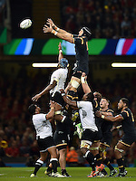 Luke Charteris of Wales rises high to win lineout ball. Rugby World Cup Pool A match between Wales and Fiji on October 1, 2015 at the Millennium Stadium in Cardiff, Wales. Photo by: Patrick Khachfe / Onside Images