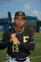 Bristol Pirates Christian Navarro (13) poses for a photo before a game against the Elizabethton Twins on July 29, 2018 at Joe O'Brien Field in Elizabethton, Tennessee.  Bristol defeated Elizabethton 7-4.  (Mike Janes/Four Seam Images)