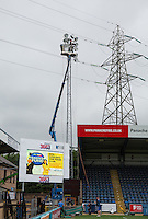 General view of the Floodlights being serviced at Wycombe Wanderers Stadium, Adams Park, High Wycombe, Bucks, England on 12 July 2015. Photo by Andy Rowland.