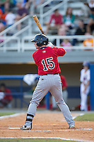 Daniel Kihle (15) of the Elizabethton Twins at bat against the Kingsport Mets at Hunter Wright Stadium on July 9, 2015 in Kingsport, Tennessee.  The Twins defeated the Mets 9-7 in 11 innings. (Brian Westerholt/Four Seam Images)