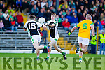 Bernard Walsh South Kerry in action against Donal Lyne Legion at the Kerry County Senior Football Final at Fitzgerald Stadium on Sunday.