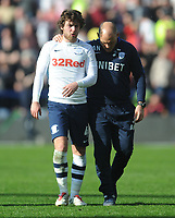 Preston North End's Ben Pearson chats with Alex Neil at the final whistle<br /> <br /> Photographer Kevin Barnes/CameraSport<br /> <br /> The EFL Sky Bet Championship - Preston North End v Sheffield United - Saturday 6th April 2019 - Deepdale Stadium - Preston<br /> <br /> World Copyright © 2019 CameraSport. All rights reserved. 43 Linden Ave. Countesthorpe. Leicester. England. LE8 5PG - Tel: +44 (0) 116 277 4147 - admin@camerasport.com - www.camerasport.com