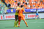 The Hague, Netherlands, June 15: Matt Gohdes #16 of Australia and Wouter Jolie #7 of The Netherlands in action during the field hockey gold match (Men) between Australia and The Netherlands on June 15, 2014 during the World Cup 2014 at Kyocera Stadium in The Hague, Netherlands. Final score 6-1 (2-1)  (Photo by Dirk Markgraf / www.265-images.com) *** Local caption ***