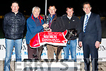 L-R Kieran Casey, KGS, John Geoghegan, RedMills, Brendan O'Shea (winning dog Owner) Rafal Polzak with declan Dowling KGS with Cross Field Liz after winning the RedMills unarmed bitch at Kingdom Greyhound Stadium, Tralee last Friday night.