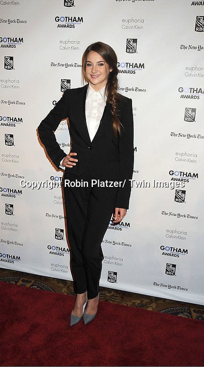 "actress Shailene Woodley of "" The Descendents"" in Calvin Klein outfit attends IFP'S 21st Annual Gotham Independent Film Awards on November 28, 2011 at Cipriani Wall Street in New York City."