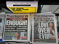 New York tabloid newspapers on Monday, June 5, 2017 report on the  terrorist attack in London, UK on London Bridge and in the surrounding area which left 6 dead and 48 hurt and the Ariana Grande concert in Manchester in honor of the victims the Manchester terror attack last week. (© Richard B. Levine)