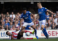 Jordan Roberts of Ipswich Town robs the stricken Conor McLaughlin of Sunderland  during Ipswich Town vs Sunderland AFC, Sky Bet EFL League 1 Football at Portman Road on 10th August 2019