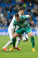 Real Madrid´s Medran (B) and Cornella´s Pere during Spanish King Cup match between Real Madrid and Cornella at Santiago Bernabeu stadium in Madrid, Spain.December 2, 2014. (NortePhoto/ALTERPHOTOS/Victor Blanco)