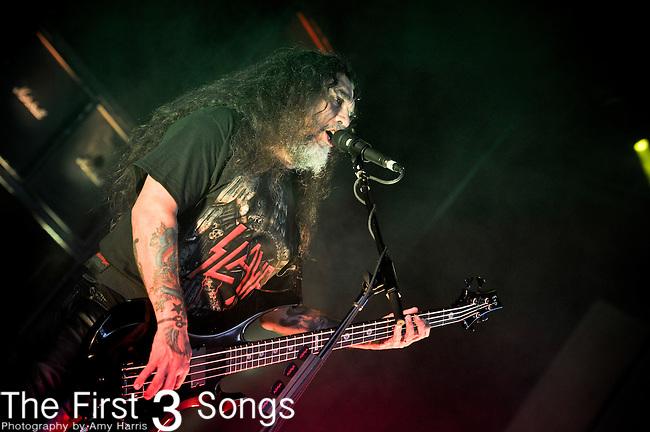 Tom Araya of Slayer performs at the 2012 Rockstar Energy Drink Mayhem Festival at Riverbend Music Center in Cincinnati, Ohio.