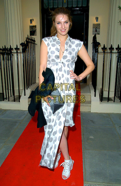 BEN GRIMES.Westfield London & BFC - Fashion Forward Launch, Haymarket Hotel, London, England..July 17th, 2007.full length white grey gray polka dot dress hand on hip clutch purse peeptoe peep toe shoes lace sleeveless .CAP/CAN.©Can Nguyen/Capital Pictures