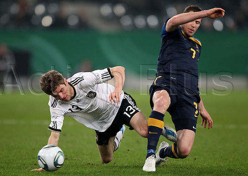 02 03 2011   Germany Football international match Germany versus  Australia Australia Bret Emerton against Germany Thomas Mueller F