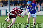 Brandon Barrett Causeway gets the ball knocked away from him by Ger Stackpoole Lixnaw at the County U21 Hurling championship SF played in Lixnaw on Sunday