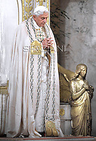 Celebration of the second vespers Pope Benedict XVI of Saint Paul basilica in Rome. January 25, 2012