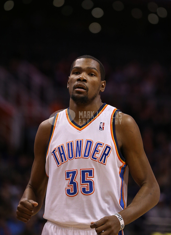 Feb. 10, 2013; Phoenix, AZ, USA: Oklahoma City Thunder power forward Kevin Durant against the Phoenix Suns at the US Airways Center. Mandatory Credit: Mark J. Rebilas-