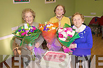 Lixnaw Active Retirement Group Presentation: Floral presentations were made to the first octogenarians presidents in the county on Wednesday morning at the Community centre in Lixnaw. Seated are Mary O'Flaherty, Mary McCarthy & Kitty Lynch..