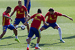 Spanish Gerard Pique Nolito and Thiago Alcantara during the second training of the concentration of Spanish football team at Ciudad del Futbol de Las Rozas before the qualifying for the Russia world cup in 2017 August 30, 2016. (ALTERPHOTOS/Rodrigo Jimenez)