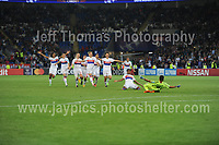 The winning team of Lyon celebrate on winning the match during the UEFA Champions league final Women's football between Lyon and Paris Saint-Germain at Cardiff City Stadium on 1st June 2017<br /> <br /> <br /> Jeff Thomas Photography -  www.jaypics.photoshelter.com - <br /> e-mail swansea1001@hotmail.co.uk -<br /> Mob: 07837 386244 -