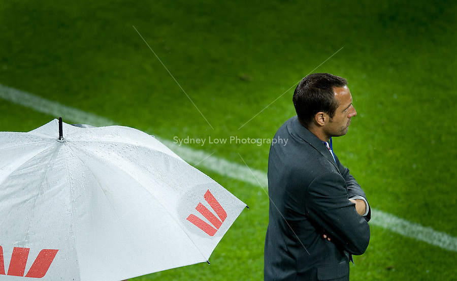 MELBOURNE, AUSTRALIA - NOVEMBER 27: Heart coach John van't Schip watches his players during the round 16 A-League match between the Melbourne Heart and Sydney FC at AAMI Park on November 27, 2010 in Melbourne, Australia. (Photo by Sydney Low / Asterisk Images)