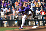 OMAHA, NE - JUNE 26: Russell Reynolds (45) of Louisiana State University pitches against the University of Florida during the Division I Men's Baseball Championship held at TD Ameritrade Park on June 26, 2017 in Omaha, Nebraska. The University of Florida defeated Louisiana State University 4-3 in game one of the best of three series. (Photo by Jamie Schwaberow/NCAA Photos via Getty Images)