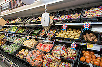 Best of British, fresh produce on supermarket shelving