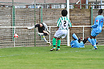 Wayne Clark (on ground) scores  Horsham FC's second goal of the game in their pre-season friendly away to Great Wakering Rovers, 28th July 2012 at Burroughs Park