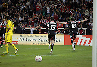 WASHINGTON, DC - OCTOBER 20, 2012:  Nick DeLeon (18) and Chris Pontius (13) of D.C United after Nick DeLeon (18) had scored against the Columbus Crew during an MLS match at RFK Stadium in Washington D.C. on October 20. D.C United won 3-2.