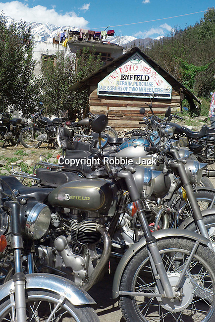 Royal Enfield motor cycles in Vashisht in the Kullu Valley, Himachal Pradesh, India.
