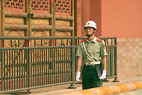 A guard walks the grounds at the Forbidden City in Beijing. The Forbidden City was the Chinese imperial palace from the Ming Dynasty to the end of the Qing Dynasty, and off limits to most Chinese for 500 years. .