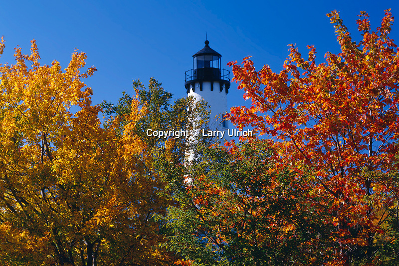 Red maples and Point Iroquois Light<br />