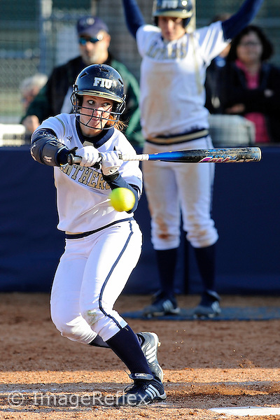 13 February 2010:  FIU's Beth Peller (9) bats as the FIU Golden Panthers defeated the University of Illinois (Chicago) Flames, 2-1, at the University Park Stadium in Miami, Florida.