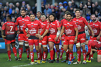 Toulon players watch a replay on the big screen. European Rugby Champions Cup match, between Bath Rugby and RC Toulon on January 23, 2016 at the Recreation Ground in Bath, England. Photo by: Patrick Khachfe / Onside Images