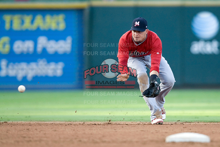 Memphis Redbirds shortstop Tyler Greene #41 on defense against the Round Rock Express at the Dell Diamond on July 10, 2011 in Round Rock, Texas.  Memphis defeated Round Rock 10-9.  (Andrew Woolley / Four Seam Images)
