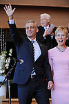 Chicago Mayor Elect Rahm Emanuel and his wife Amy Rule enter the stage at his inauguration ceremony in Millennium Park in Chicago, Illinois on May 16, 2011.