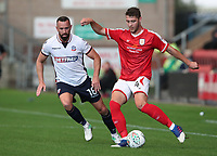 Crewe Alexandra's Brad Walker in action with Bolton Wanderers Aaron Wilbraham<br /> <br /> Photographer Rachel Holborn/CameraSport<br /> <br /> The Carabao Cup - Crewe Alexandra v Bolton Wanderers - Wednesday 9th August 2017 - Alexandra Stadium - Crewe<br />  <br /> World Copyright &copy; 2017 CameraSport. All rights reserved. 43 Linden Ave. Countesthorpe. Leicester. England. LE8 5PG - Tel: +44 (0) 116 277 4147 - admin@camerasport.com - www.camerasport.com