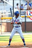 Kingsport Mets outfielder L.A. Woodard (11) at bat during a game against the Burlington Royals at Burlington Athletic Complex on July 28, 2018 in Burlington, North Carolina. Burlington defeated Kingsport 4-3. (Robert Gurganus/Four Seam Images)