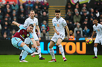Burnley's Sam Vokes has a shot at goal <br /> <br /> Photographer Ashley Crowden/CameraSport<br /> <br /> The Premier League - Swansea City v Burnley - Saturday 10th February 2018 - Liberty Stadium - Swansea<br /> <br /> World Copyright &copy; 2018 CameraSport. All rights reserved. 43 Linden Ave. Countesthorpe. Leicester. England. LE8 5PG - Tel: +44 (0) 116 277 4147 - admin@camerasport.com - www.camerasport.com