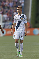 LA Galaxy substitute midfielder Robbie Rogers (14). In a Major League Soccer (MLS) match, the New England Revolution (blue) defeated LA Galaxy (white), 5-0, at Gillette Stadium on June 2, 2013.