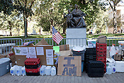 October 21, 2011. Raleigh, NC.. Food and water for supporters is stored on the sidewalk.. Many supporters of the Occupy Wall Street protestors have been camping out on the sidewalk outside the State Capitol building to show solidarity with those around the globe.