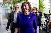 WASHINGTON, DC: Speaker of the United States House of Representatives Nancy Pelosi (Democrat of California) after attending a meeting with the House Democratic caucus after talking the possible impeachment of US President Donald J. Trump  on Capitol Hill on September 24, 2019. <br /> Credit: Tasos Katopodis / CNP