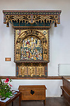 16th century Flemish reredos screen of Crucifixion, Cavendish church, Suffolk, England, UK