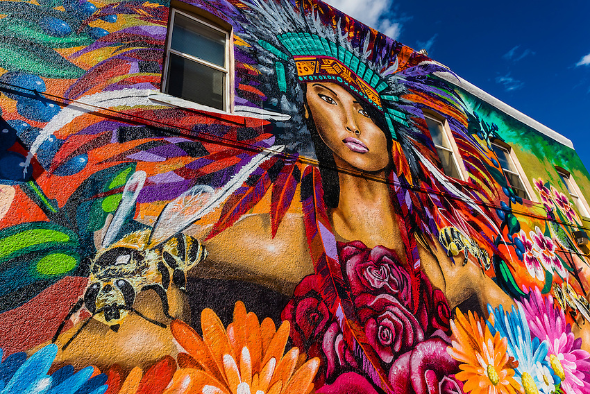 A large mural on a building on Downing Street, near Downtown Denver, Colorado USA.