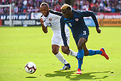 February 2nd 2019, San Jose, California, USA; USA forward Gyasi Zardes (9) in action against Costa Rica defender Pablo Arboine (3) during the international friendly match between USA and Costa Rica at Avaya Stadium on February 2, 2019 in San Jose CA.