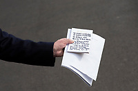 United States President Donald J. Trump holds notes responding to the testimony of United States Ambassador to the European Union Gordon Sondland as he speaks to the media on the South Lawn of the White House in Washington D.C., U.S., on Wednesday, November 20, 2019.<br /> <br /> Credit: Stefani Reynolds / CNP/AdMedia
