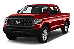 2018 Toyota Tundra SR 4.6L Double Cab Standard Bed 4 Door Pick Up angular front stock photos of front three quarter view
